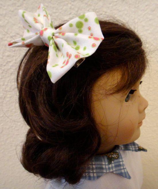 Girls Hair Bow Fabric Polka Dots American Girl by PreciousBowtique, $2.00