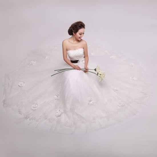 hot sell Strapless Ball Gown Net wedding dress