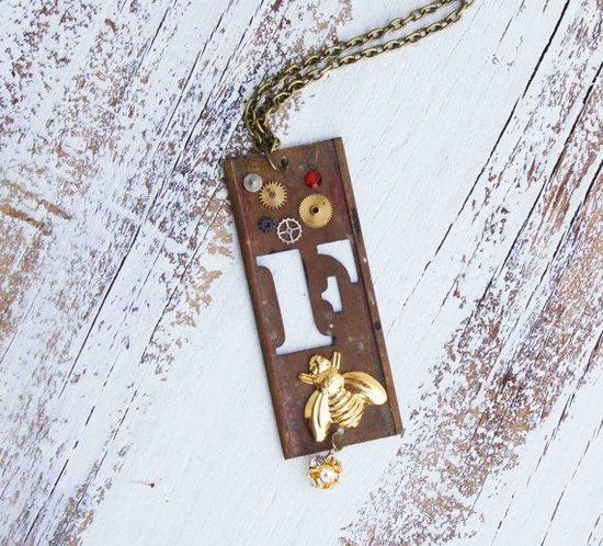 Firefly -  Vintage Brass Stencil Necklace
