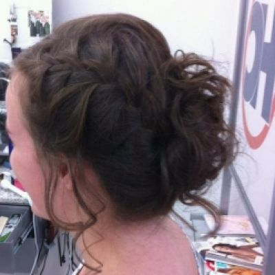 Side french braid curl pin up..