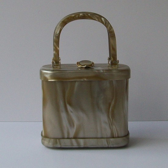 gray lucite box purse