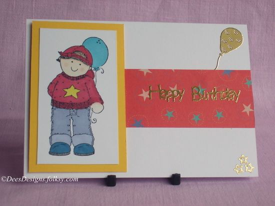 Handmade Birthday Card, Boy with Balloon £1.75