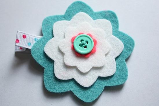 Wool Felt Dahlia Flower Hair Clip-Aqua and White