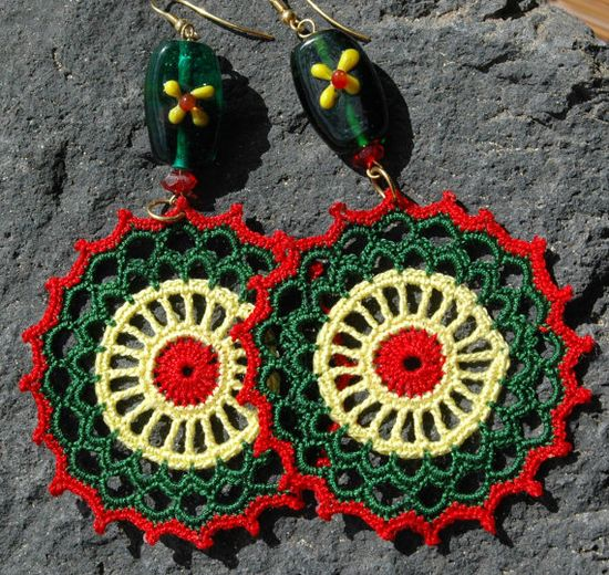 Crocheted  Earrings in  Red  Green and Yellow by lindapaula, €11.00