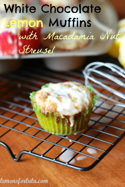 Moist and tart lemon muffin sweetened with white chocolate chips, topped with a macadamia stuesel and drizzled with a simple lemon glaze!