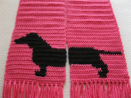 Pink Dachshund Scarf. I love this!