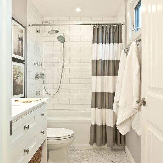 Striped Shower Curtain in a Bathroom by Vanessa Francis