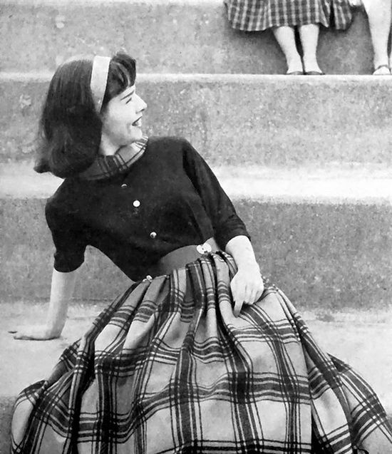 Girl in Blouse and Plaid Skirt, 1958. #vintage #1950s #fashion