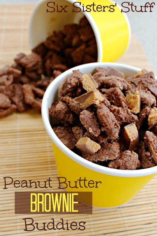 Peanut Butter Brownie Buddies from Sixsistersstuff.com. One of the easiest desserts you will ever make! #chexmix #Buddies #peanutbutter #dessert