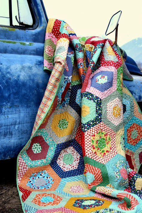 Scrappy Giant Hexagon quilt - Diary of a Quilter - a quilt blog