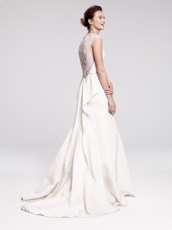 Lela Rose 'Tompkins Square Park' gown, silk radzmir with filigree- & crystal-embroidered tulle back