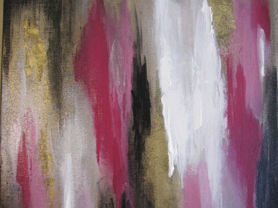 Contemporary Abstract Painting Pink White Black by ArtByCornelia, $98.00