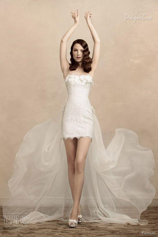 papilio short wedding dresses 2013 odrie train