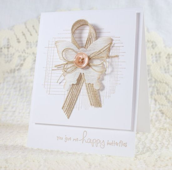 Handmade Greeting Card  with Unity Stamps, crepe paper, jute ribbon...