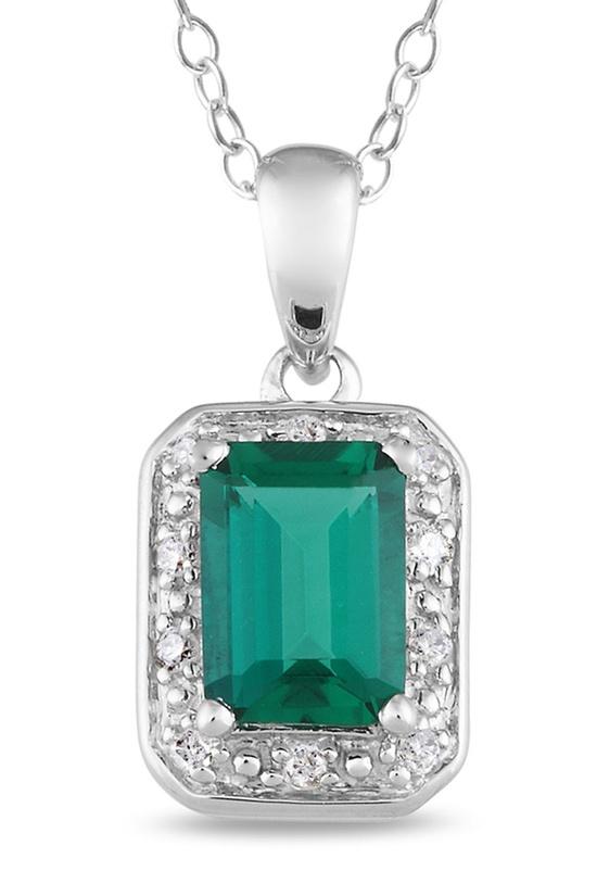 Emerald & Diamond Silver Pendant Necklace.