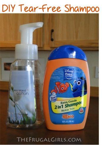 DIY Foaming Tear-Free Shampoo {simple tip to save $$!}  #diy #kids #shampoo