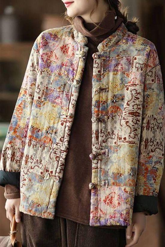 Women Retro Thick Warm Print Cotton Coat Item Code: 4752231465022 Material: 71%-80%Cotton Collar: Stand Collar Highlight: Single Breasted .Print Season: Autumn .Winter