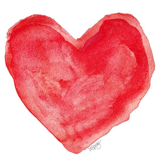 Valentines Day Decor Red Heart Watercolor by OutsideInArtStudio,~simple idea