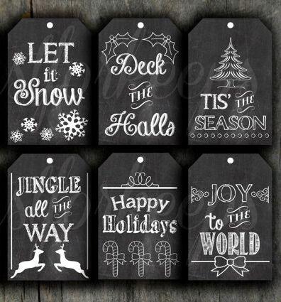 Printable chalkboard gift tags