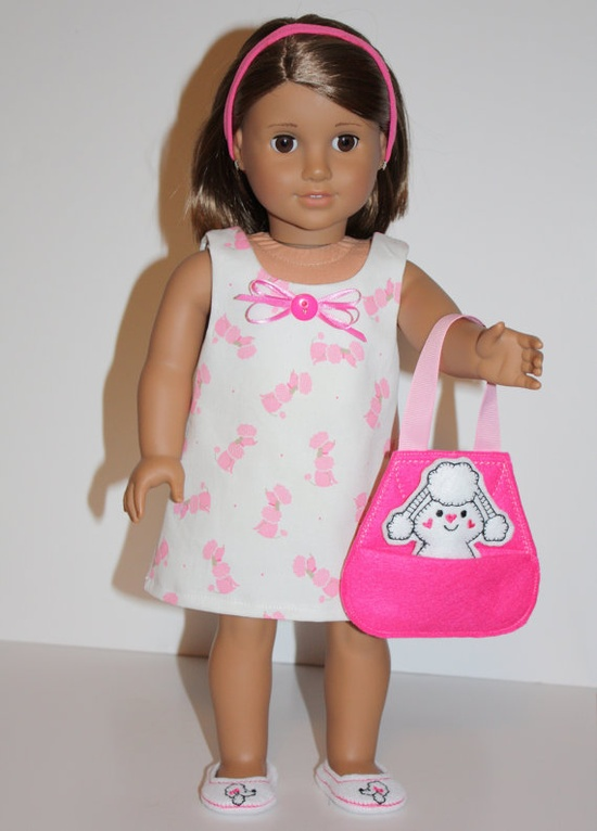18 inch Doll Dress Pink Poodle dress Shoes Poodle by DollShoeShop, $19.00