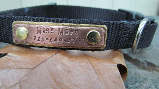 Pet ID Tag  Pet Collar Tag  Pet tag Copper and by themadstampers, $13.00