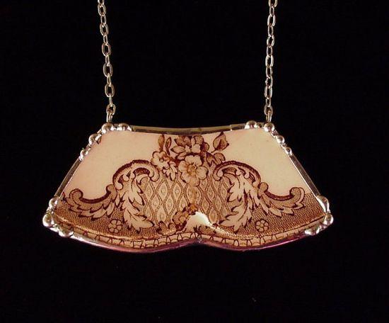 Broken China Jewelry necklace vintage brown transferware