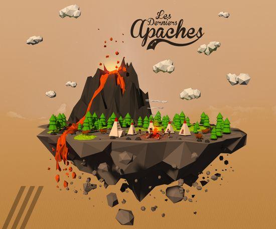 3D Low Poly - Apaches by Alexandre Duforest, via Behance