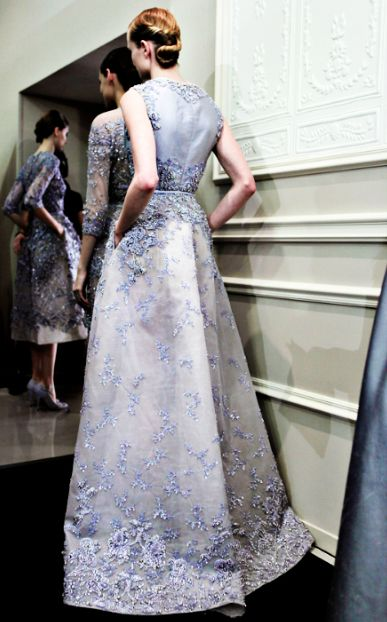 Backstage at Elie Saab Haute Couture Spring 2013  so pretty and unexpected as a wedding gown