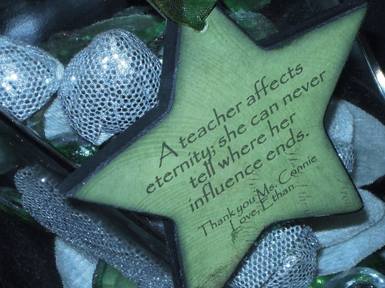 Christmas Gift for Teacher-  Personalized Ornament - A Teacher Affects Eternity. $19.00, via Etsy.
