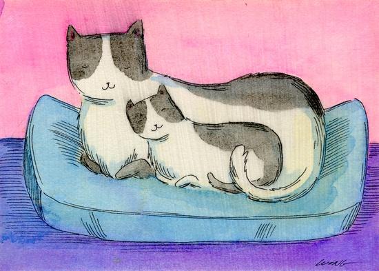 cat bedroom Labrador Sharing a Sunbeam artist dog mutt 4x6 PRINT pets