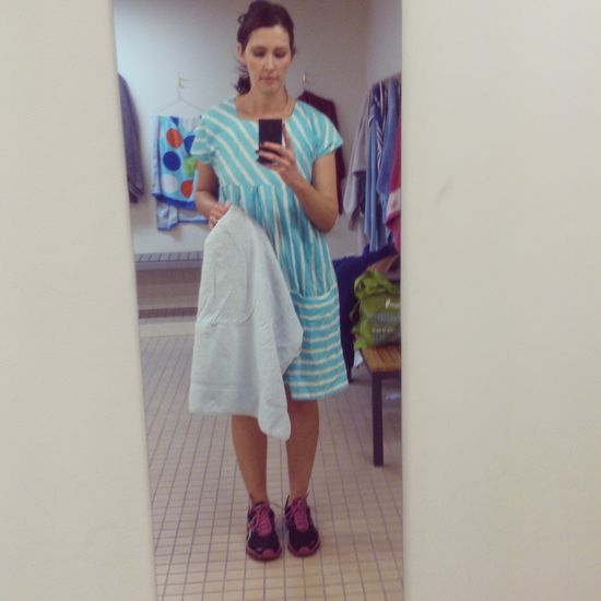 Exercising in a frock on Day 1