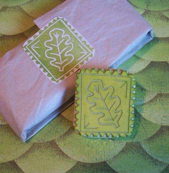 Oak Leaf Stamp Hand Carved Rubber Stamp