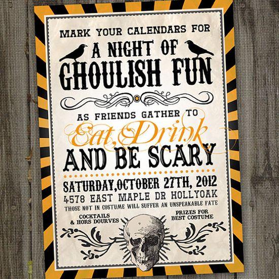 Vintage Retro Halloween Printable Party Invitation by partymonkey, $15.00