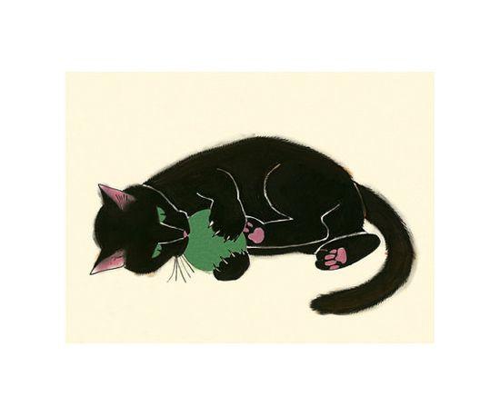"Black Cat Art print - Black Cat - Claws and Effect - 8.3"" X 5.8"""