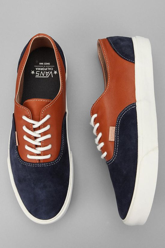 Love the leather + fabric Vans