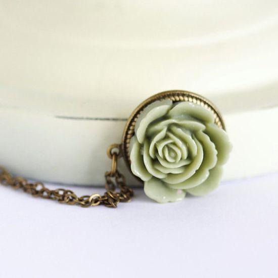 Olive Green Flower Necklace, Green Flower Pendant Necklace, Sweet Floral Necklace, Floral Accessories