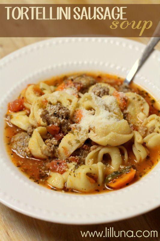 Tortellini Sausage Soup -looks good!! #soup { lilluna.com }