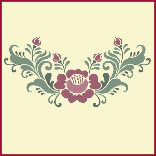 Rosemaling Rose - 2 Stencil- Swedish Kurbits - The Artful Stencil #TheArtfulStencil
