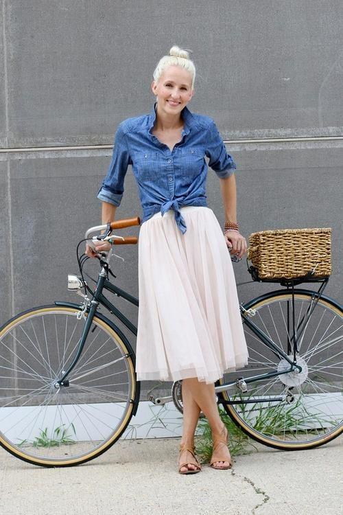 flowy skirt and denim shirt