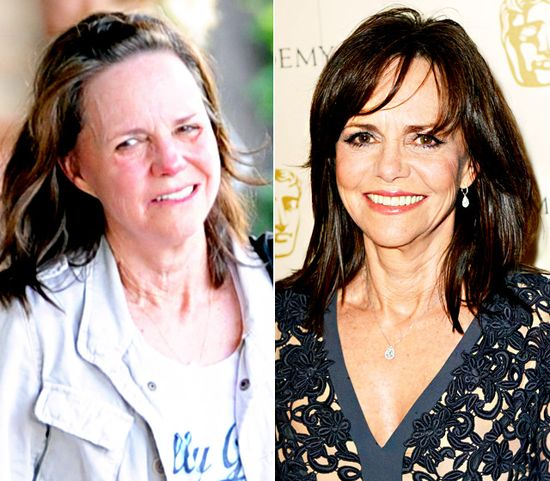 Sally Field LEFT: leaving a spin class in L.A.'s Brentwood neighborhood on May 7, 2013 RIGHT: walking the red carpet at the British Academy Film Awards in London on February 10, 2013 Read more: www.usmagazine.co... Follow us: @Us Weekly on Twitter