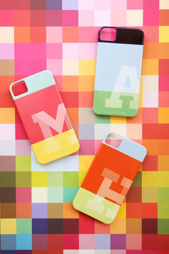 Love these bright and cheery monogrammed iPhone cases.