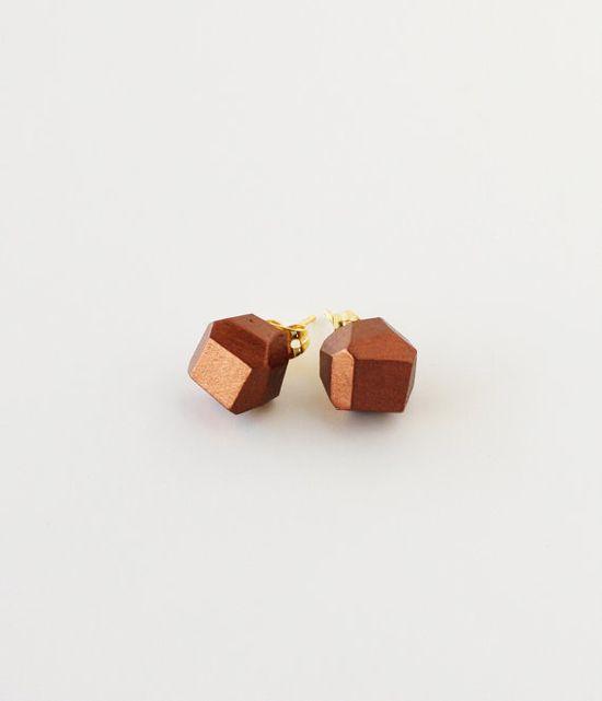 copper geometric earrings.