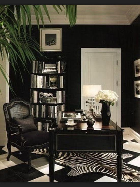 Great office idea. Love the dark walls