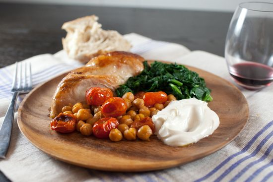 Roast Chicken Breasts with Garbanzo Beans, Tomatoes, and Paprika with Sauteed Spinach and Greek Yogurt