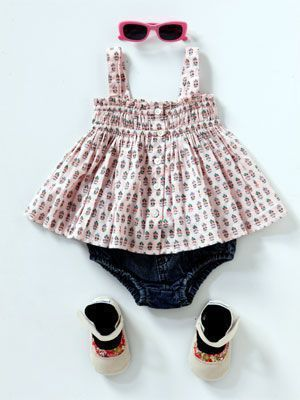 Kids fashion: Summer clothing styles for baby girls 50's style Top, Country Road, rrp $34.95; Bloomers, Ouch, rrp $28; Shoes, Cheeky Little Soles, rrp $29.95; Sunglasses, Bright Bots, rrp $8.95 Photos - Yahoo! New