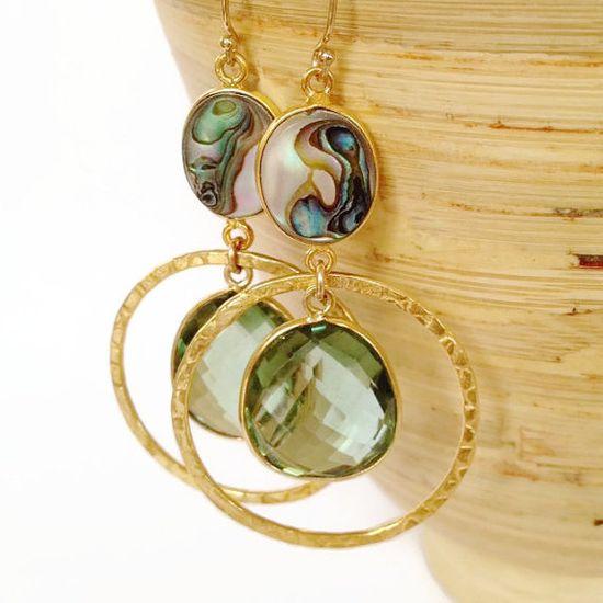 Fall Fashion Earrings, Olive Green Amethyst Earrings by Aina Kai