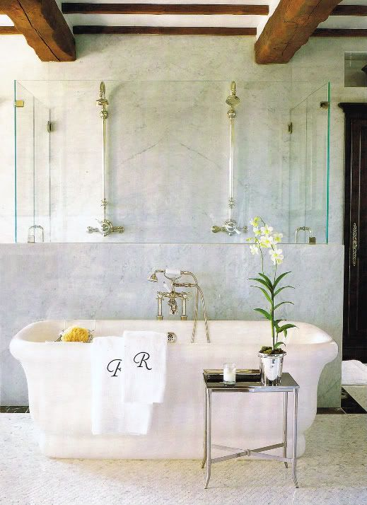 Gorgeous bathroom...love the embroidered towels :)