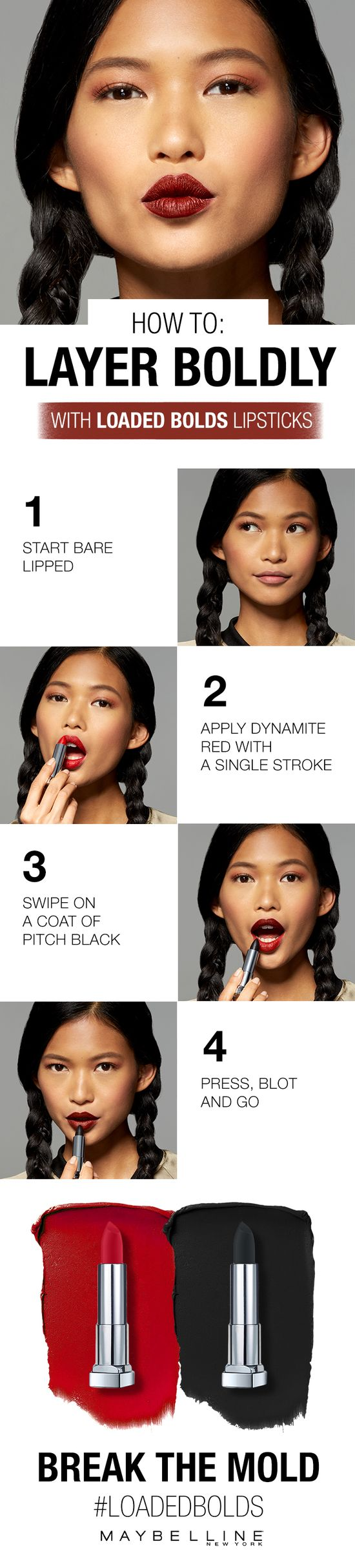 From colorful lips to a smoky eye to a dramatic eyeliner and bold lashes -  Maybelline has the  beauty tips, tricks and hacks you are searching for.  Get the Look: Bold Looks  Board