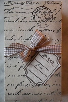 Simple....vintage script and gingham. #gift #wrapping #presents #packaging #ribbon #stamp #letter