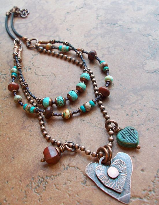 I am a fan of hearts and love the boho easy look to this necklace.